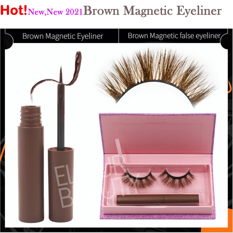 2021 newest brown color magnetic eyeliner for 6D m...