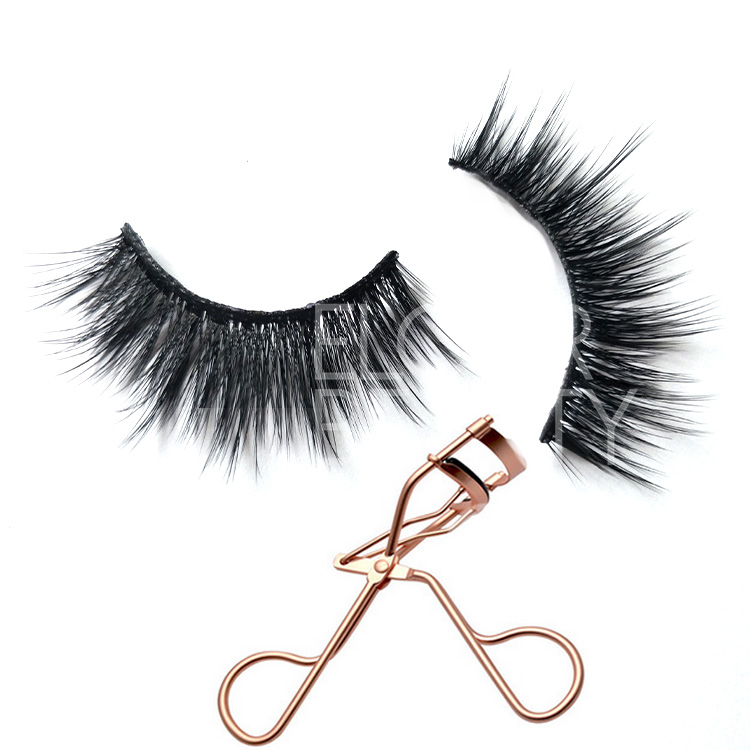 Best quality 3D faux mink fake eyelash with eyelash curler  EL34