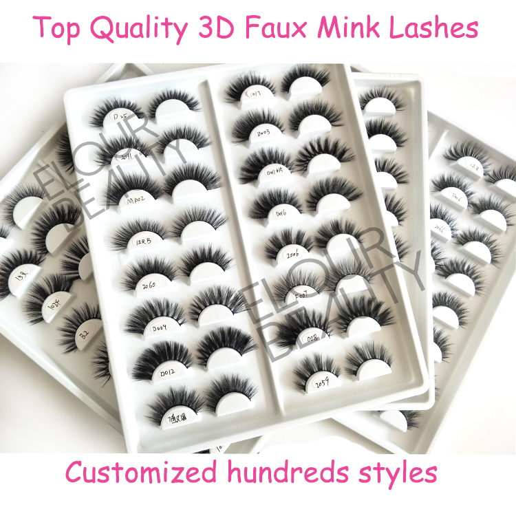 Private label faux mink 3D eyelash wholesale distributor china EL90