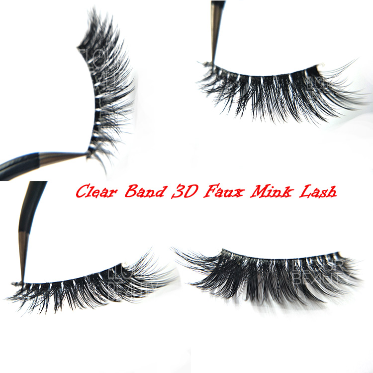 Newest Russian volume 3D faux mink eyelashes invisible band manufacturer EL31