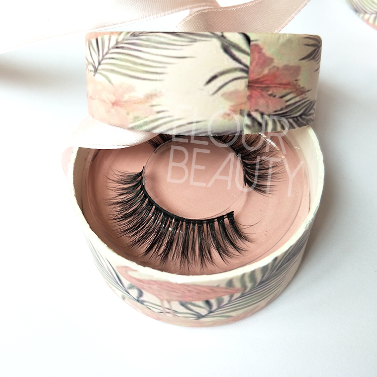 ff2b8864431 Wispy 3D faux mink false lashes with private label circle box ED117 ...
