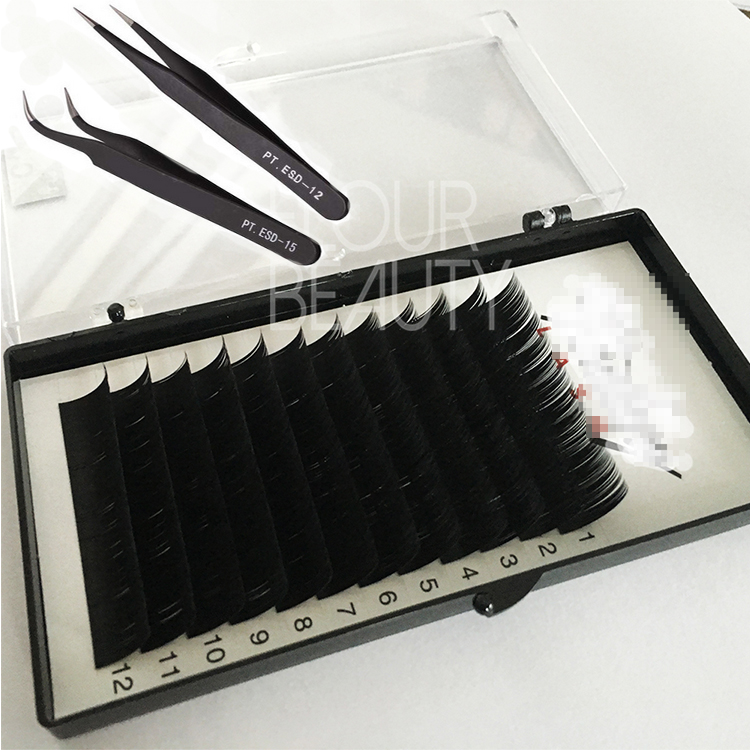 Grow longer eyelash extension with tweezers ES53