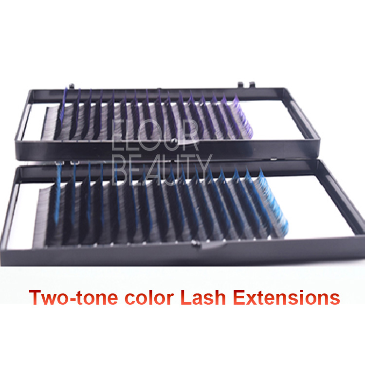 Two-tone colored eyelash extensions factory supply China.jpg