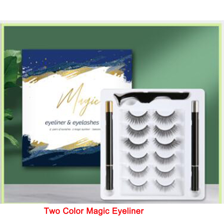6pairs pack magic eyeliner pencil black color and clear color with volume magnetic eyelashes custom package EY70