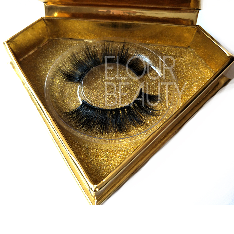 Natural style 3D Real Mink False Eyelashes with custom box ED122