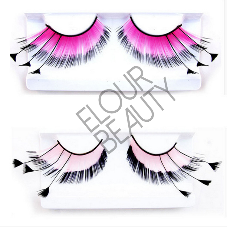 Cheap price party lashes made in feather for Halloween ES58