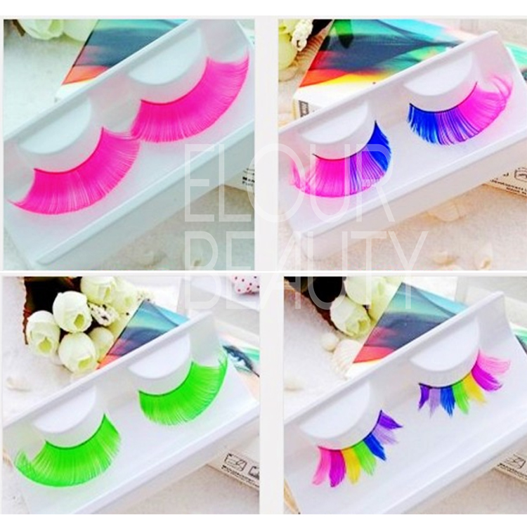 Beauty colored eyelashes in blue,pink,red,green ES64