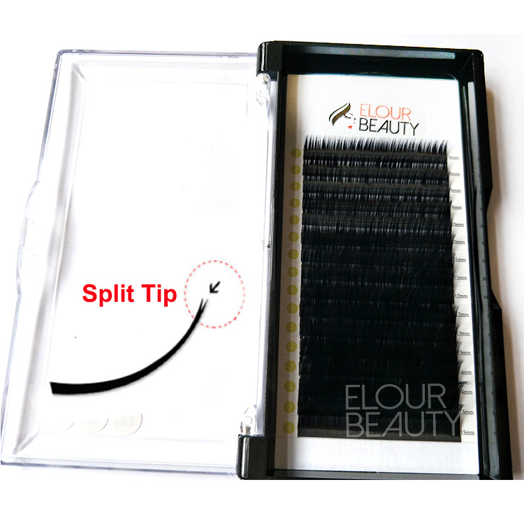 Split tip matte flat ellipse cashmere eyelash extensions private label EY25