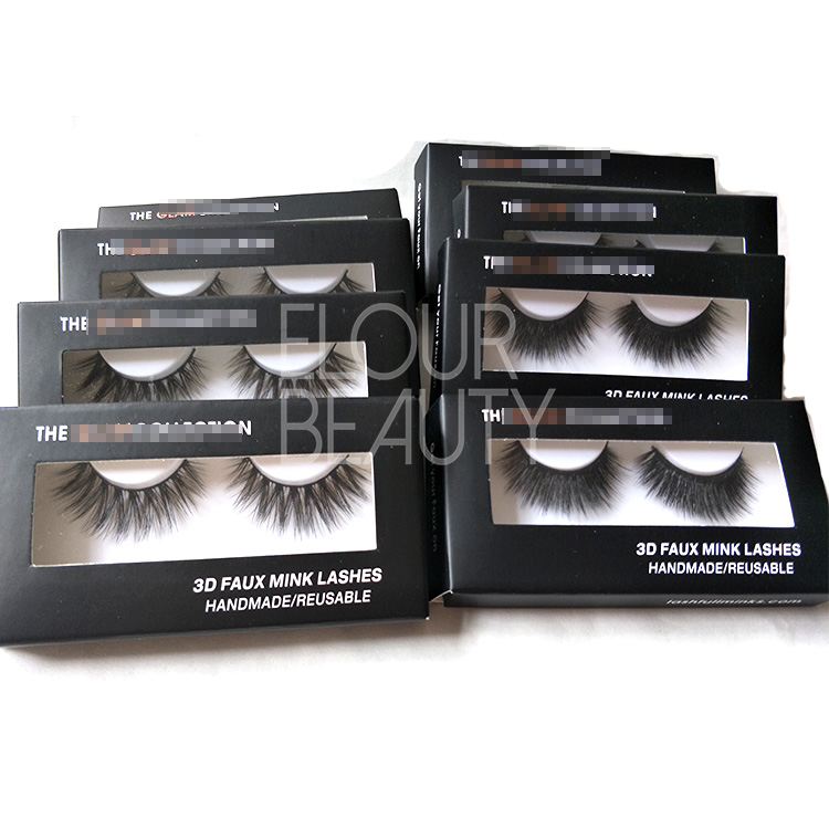 Natural long lasting 3d faux mink false eye lashes with private label lashes case EL50
