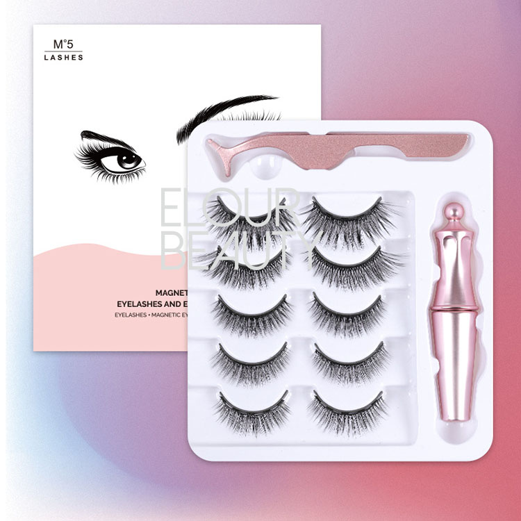 Private label wholesales 5pairs 5D magnetic eyelashes with magnetic eyeliner EY75
