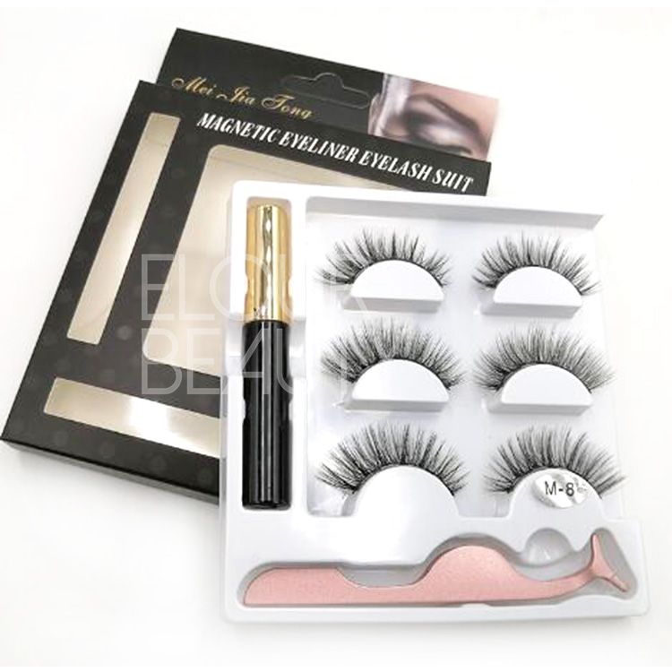 3D false eyelashes with best liquid magnetic eyeli...